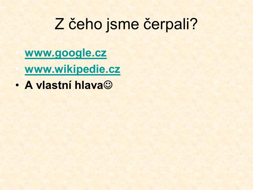 Z čeho jsme čerpali? www.google.cz www.wikipedie.cz A vlastní hlava