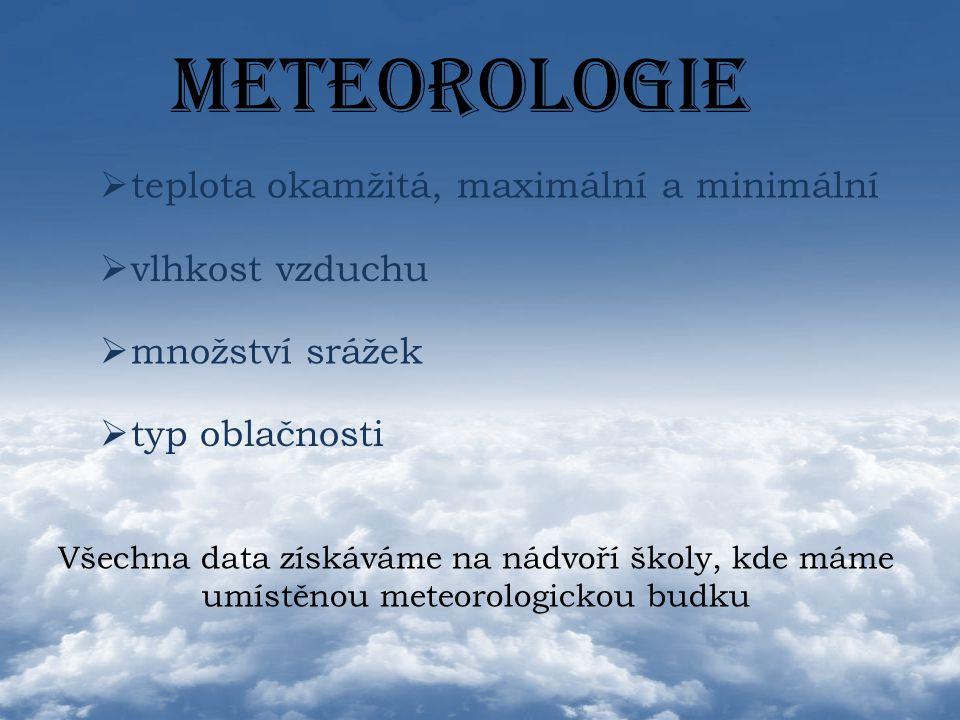 METEOROLOGIE  v vlhkost vzduchu  m množství srážek  t typ oblačnosti  teplota okamžitá, maximální a minimální teplota okamžitá, maximální a minimá