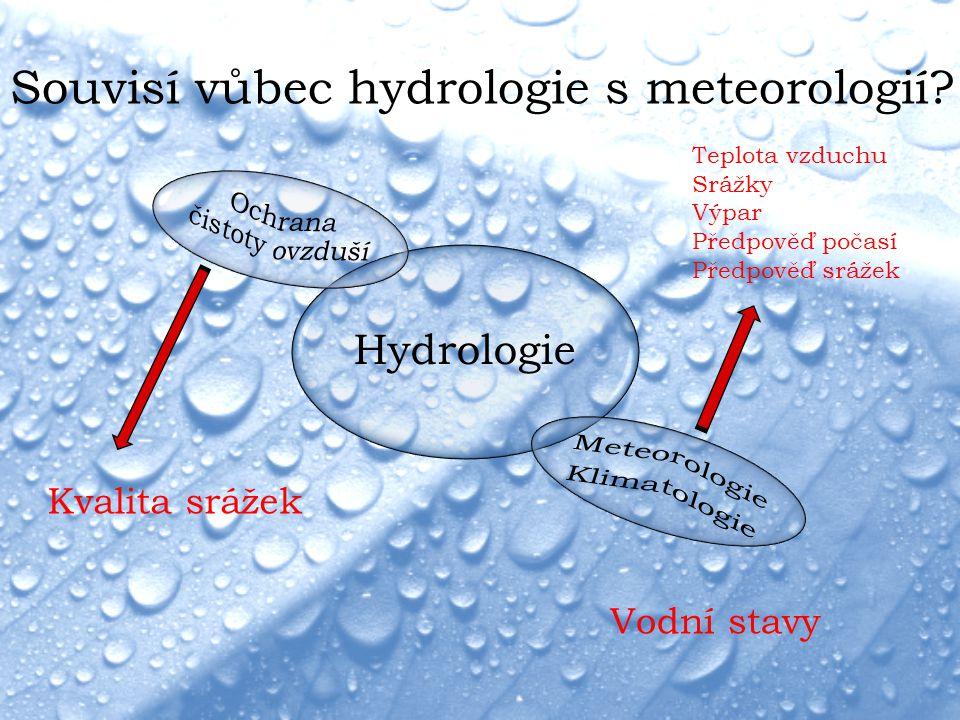 Souvisí vůbec hydrologie s meteorologií? Hydrologie Kvalita srážek Teplota vzduchu Srážky Výpar Předpověď počasí Předpověď srážek Vodní stavy