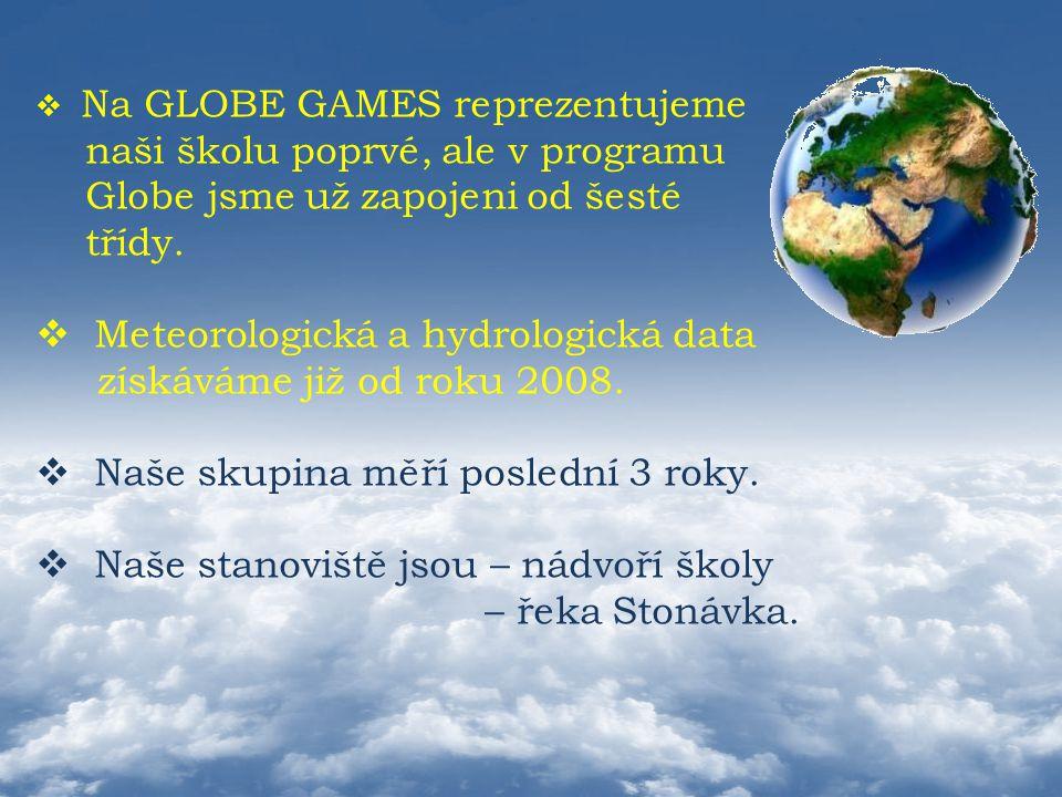  Na GLOBE GAMES reprezentujeme naši školu poprvé, ale v programu Globe jsme už zapojeni od šesté třídy.  Meteorologická a hydrologická data získávám