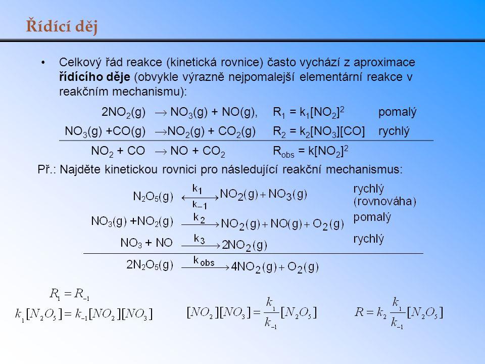 Řídící děj Celkový řád reakce (kinetická rovnice) často vychází z aproximace řídícího děje (obvykle výrazně nejpomalejší elementární reakce v reakčním