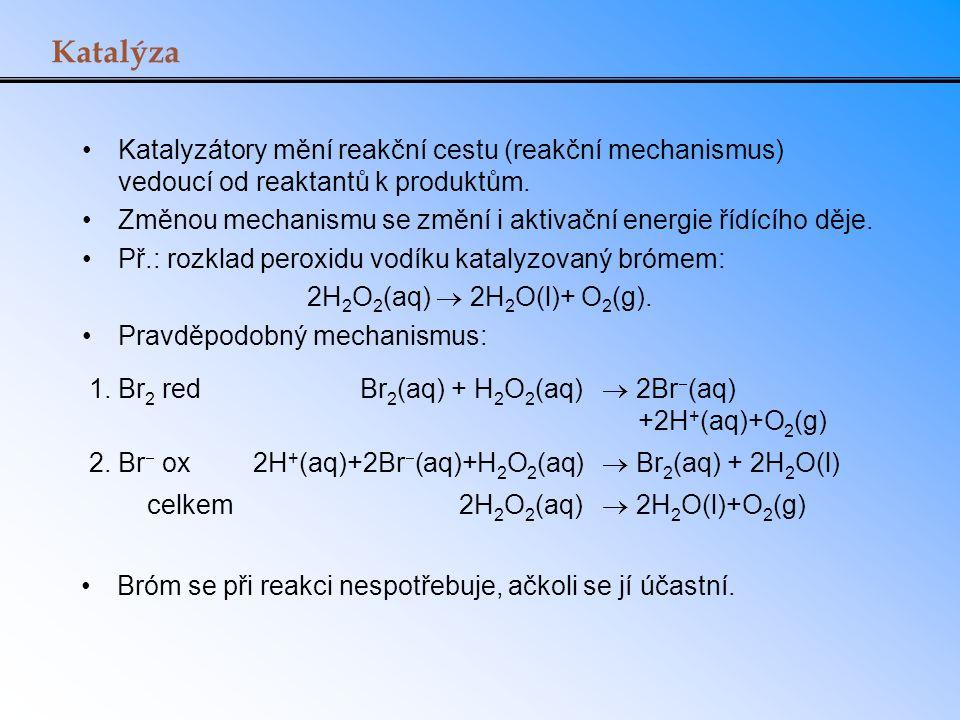 Katalýza Katalyzátory mění reakční cestu (reakční mechanismus) vedoucí od reaktantů k produktům. Změnou mechanismu se změní i aktivační energie řídící