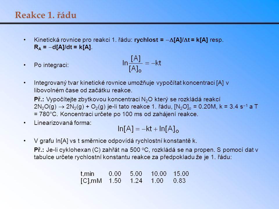 Reakce 1. řádu Kinetická rovnice pro reakci 1. řádu: rychlost =  [A]/  t = k[A] resp. R A =  d[A]/dt = k[A]. Po integraci: Integrovaný tvar kineti