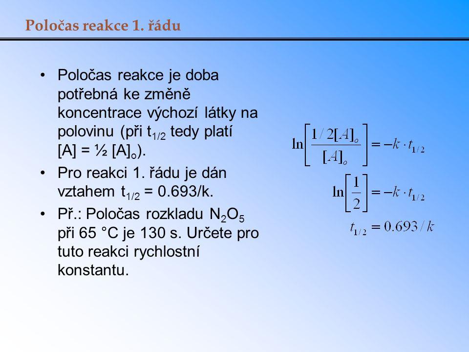 Poločas reakce 1. řádu Poločas reakce je doba potřebná ke změně koncentrace výchozí látky na polovinu (při t 1/2 tedy platí [A] = ½ [A] o ). Pro reakc
