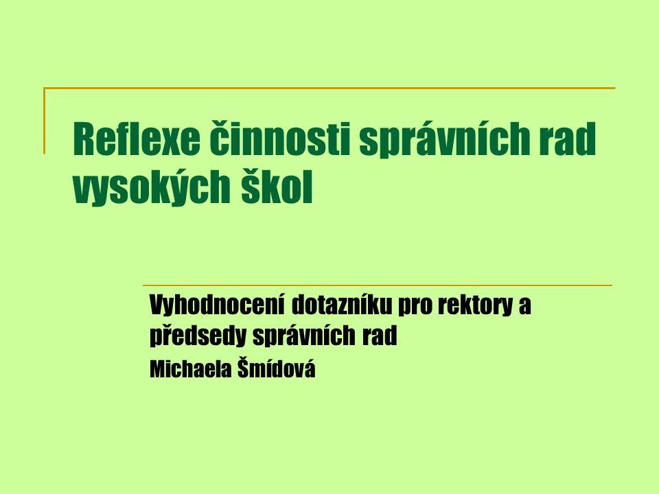 Reflexe činnosti správních rad vysokých škol Vyhodnocení dotazníku pro rektory a předsedy správních rad Michaela Šmídová