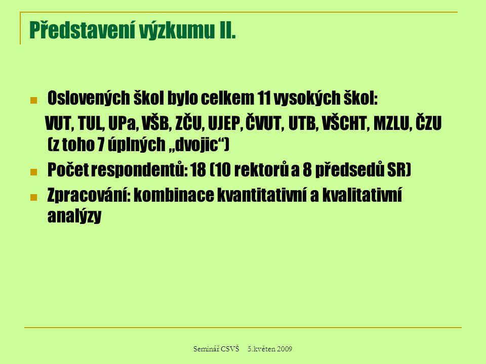 Seminář CSVŠ 5.květen 2009 Představení výzkumu II. Oslovených škol bylo celkem 11 vysokých škol: VUT, TUL, UPa, VŠB, ZČU, UJEP, ČVUT, UTB, VŠCHT, MZLU