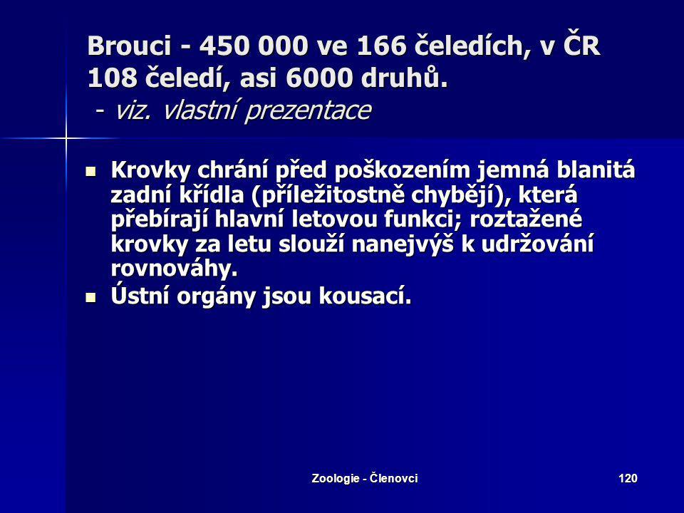 Zoologie - Členovci119 Brouci - 450 000 ve 166 čeledích, v ČR 108 čeledí, asi 6000 druhů. - viz. vlastní prezentace Tělo kryté silnou kutikulou včetně
