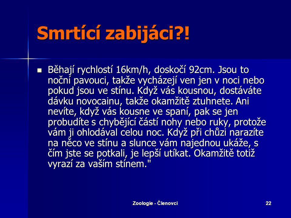 Zoologie - Členovci21 Řád: Solifugy Mohutné chelicery Mohutné chelicery Nejedovatí Nejedovatí Solifuga egejská Solifuga egejská