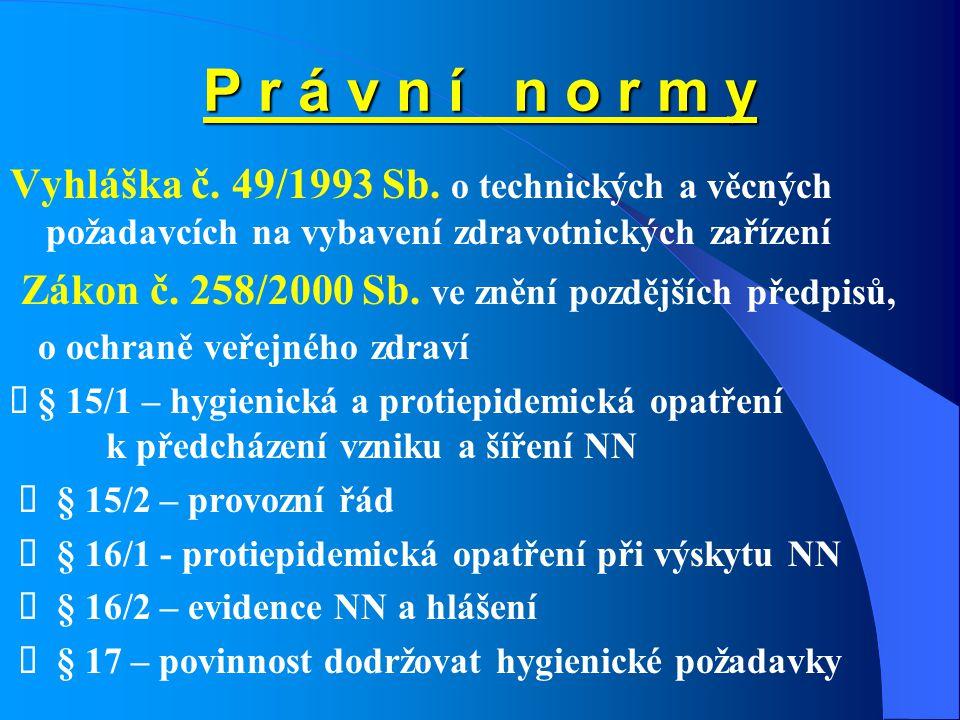 P r á v n í n o r m y Vyhláška č. 49/1993 Sb. o technických a věcných požadavcích na vybavení zdravotnických zařízení Zákon č. 258/2000 Sb. ve znění p