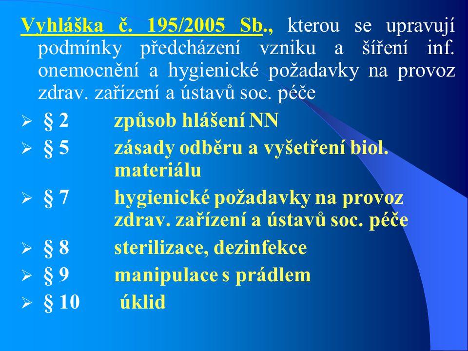 Vyhláška č. 195/2005 Sb., kterou se upravují podmínky předcházení vzniku a šíření inf. onemocnění a hygienické požadavky na provoz zdrav. zařízení a ú