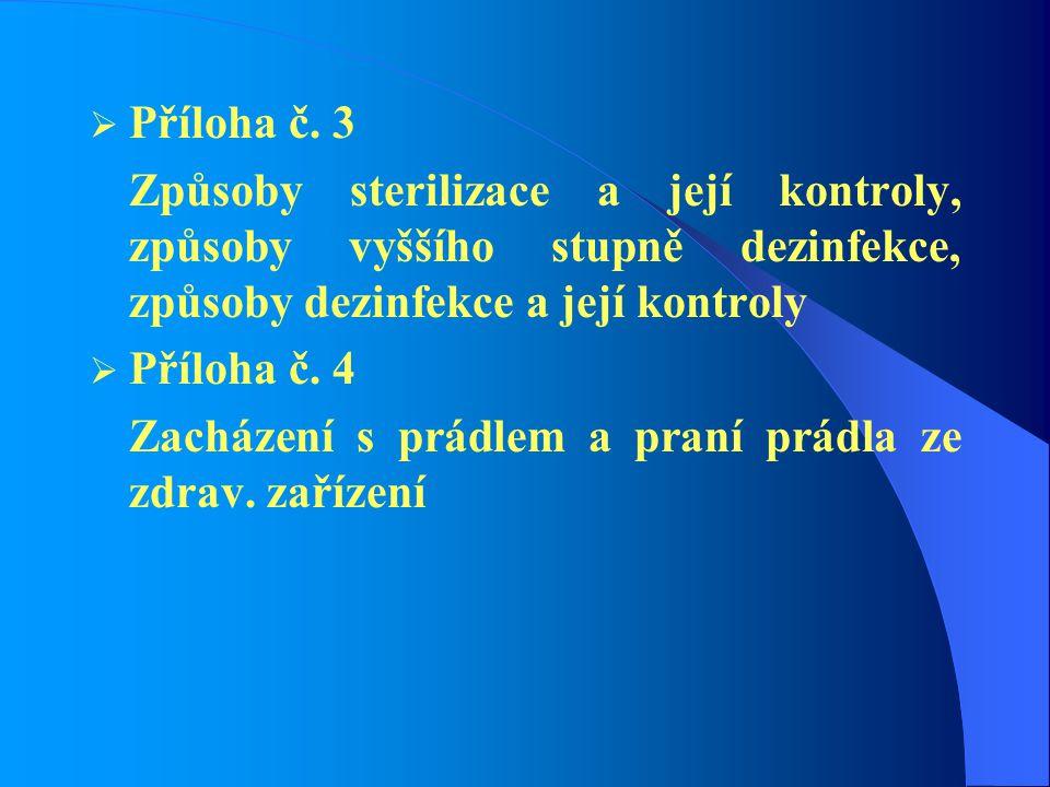  Příloha č. 3 Způsoby sterilizace a její kontroly, způsoby vyššího stupně dezinfekce, způsoby dezinfekce a její kontroly  Příloha č. 4 Zacházení s p