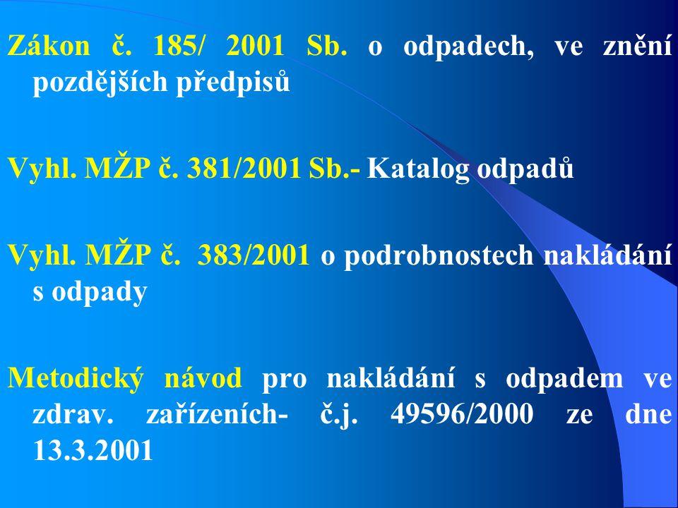 Zákon č. 185/ 2001 Sb. o odpadech, ve znění pozdějších předpisů Vyhl. MŽP č. 381/2001 Sb.- Katalog odpadů Vyhl. MŽP č. 383/2001 o podrobnostech naklád