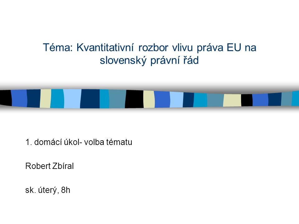 """Představení tématu Kvantitativní rozbor vlivu práva EU na slovenský právní řád o čem to je (přiblížení tématu) –EU a její právo má velký vliv na národní právní řády (proces evropeizace), ale odhady míry tohoto vlivu se významně liší a jsou založené jen na dohadech či přímo manipulaci proč dané téma –právní řád rovná se realizace politiky- nakolik se státy mohou rozhodovat samy či se už """"rozpouštějí v EU?- obavy politiků a veřejnosti (reálný rozměr problému) –vztah unijního a vnitrostátního práva stále v centru pozornosti odborníků (věda stále řeší problém) –málo informací o situaci v nových členských státech (konkrétní mezera ve výzkumu)"""