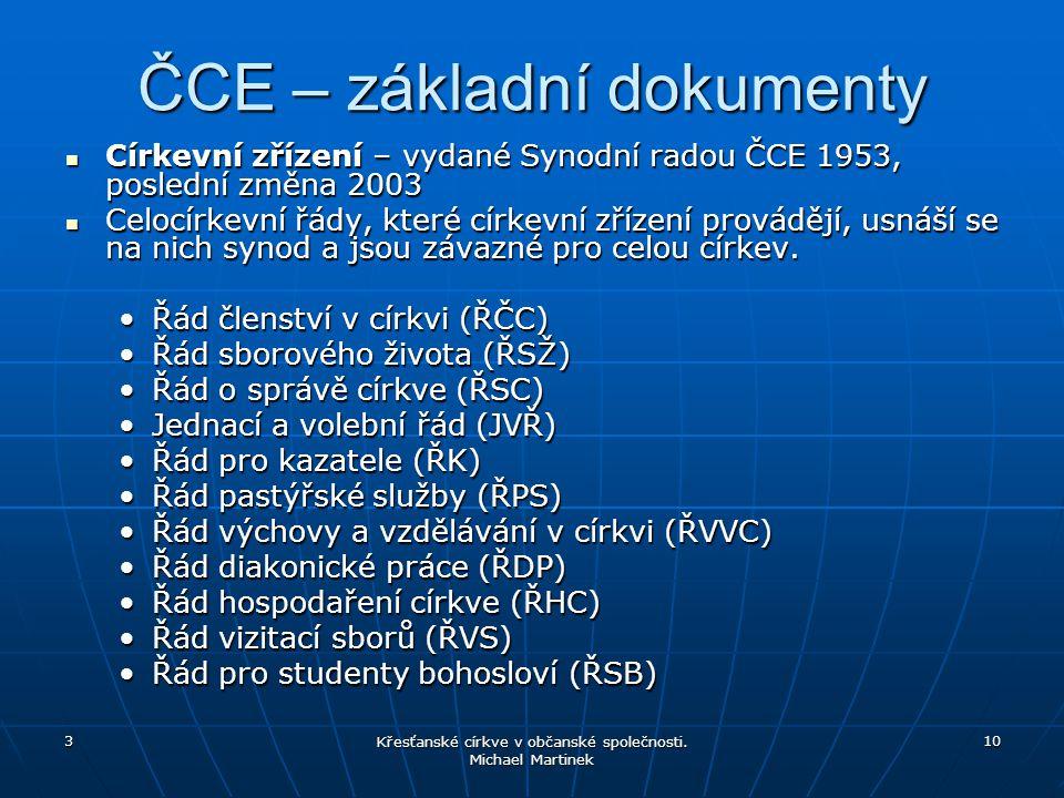 3 Křesťanské církve v občanské společnosti. Michael Martinek 10 ČCE – základní dokumenty Církevní zřízení – vydané Synodní radou ČCE 1953, poslední zm