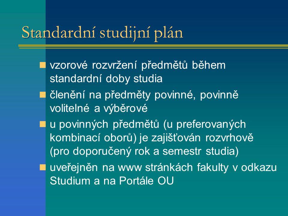 Standardní studijní plán vzorové rozvržení předmětů během standardní doby studia členění na předměty povinné, povinně volitelné a výběrové u povinných předmětů (u preferovaných kombinací oborů) je zajišťován rozvrhově (pro doporučený rok a semestr studia) uveřejněn na www stránkách fakulty v odkazu Studium a na Portále OU