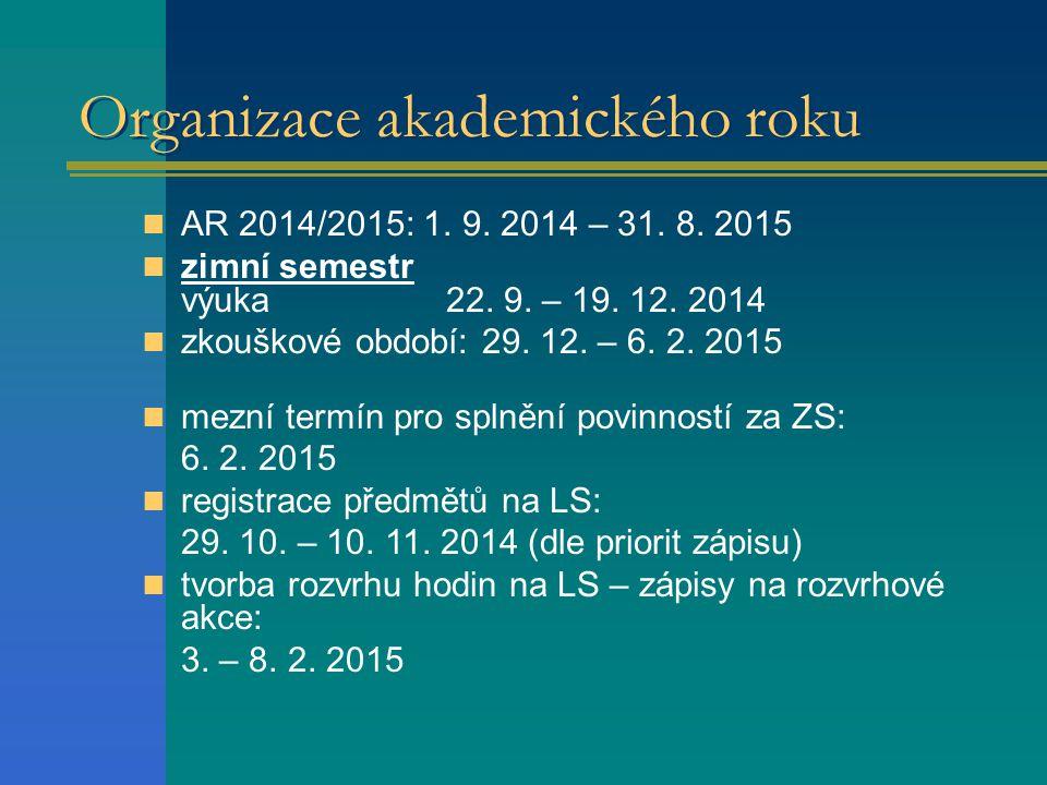 Organizace akademického roku AR 2014/2015: 1.9. 2014 – 31.