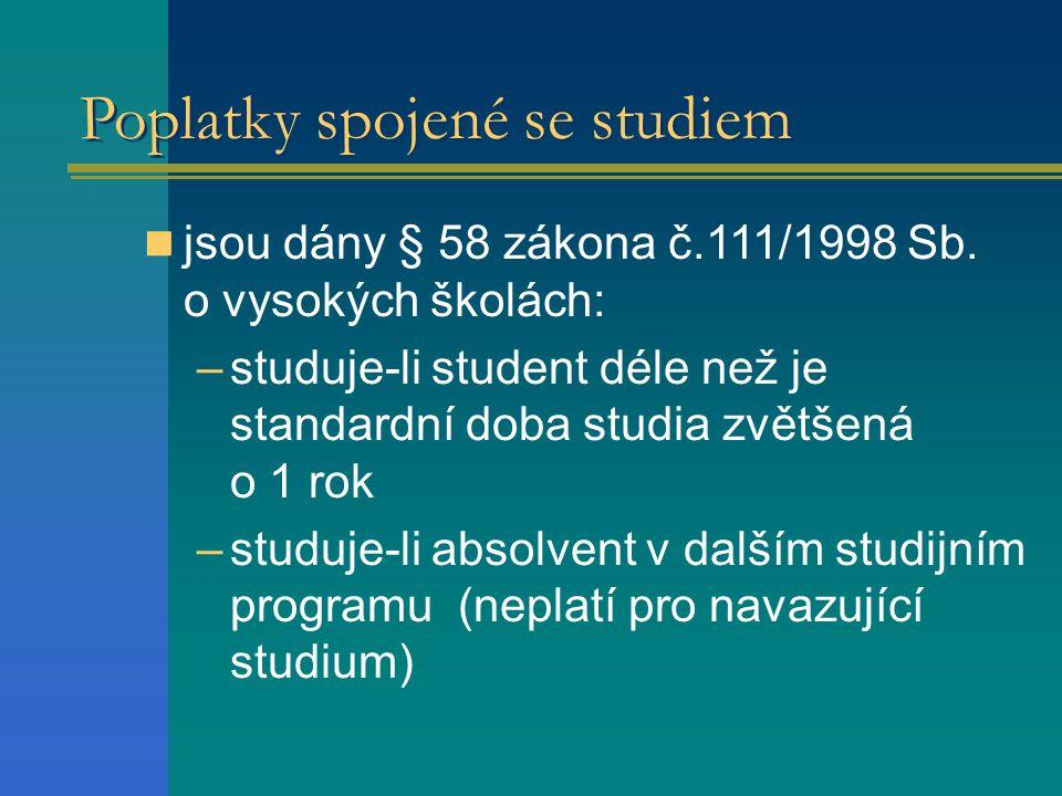 Poplatky spojené se studiem jsou dány § 58 zákona č.111/1998 Sb.