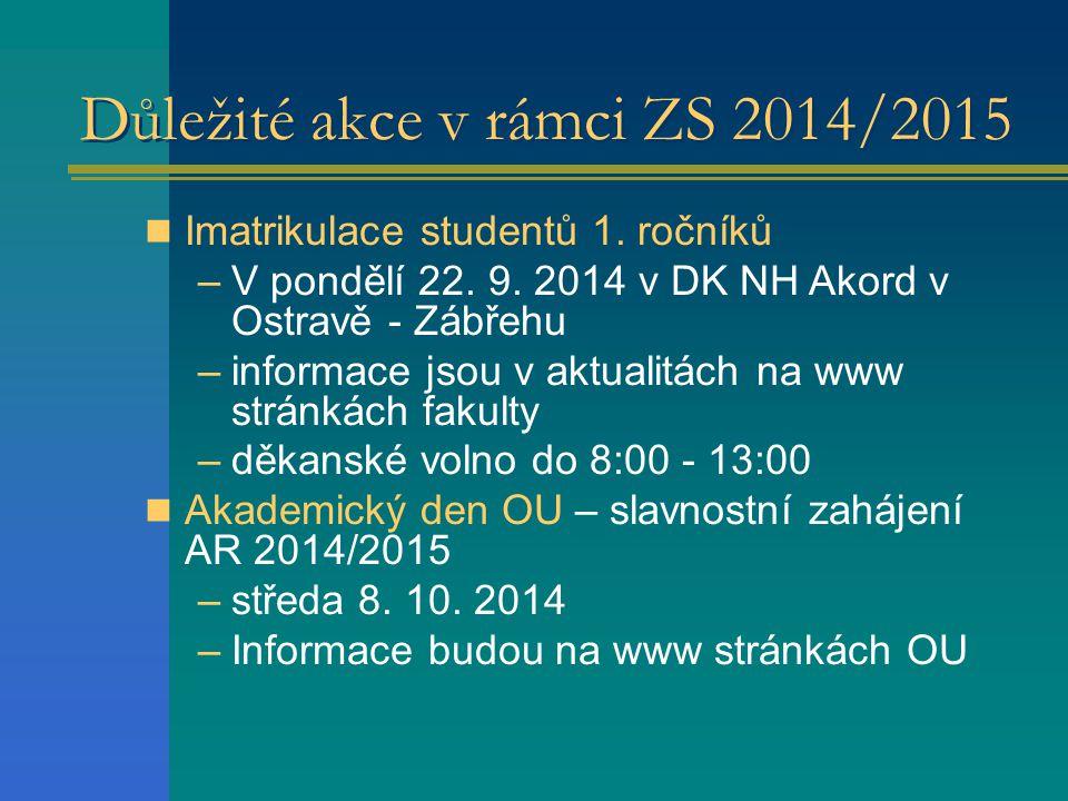 Důležité akce v rámci ZS 2014/2015 Imatrikulace studentů 1.