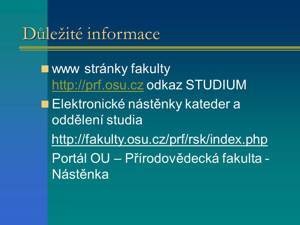 Důležité informace www stránky fakulty http://prf.osu.cz odkaz STUDIUM http://prf.osu.cz Elektronické nástěnky kateder a oddělení studia http://fakulty.osu.cz/prf/rsk/index.php Portál OU – Přírodovědecká fakulta - Nástěnka