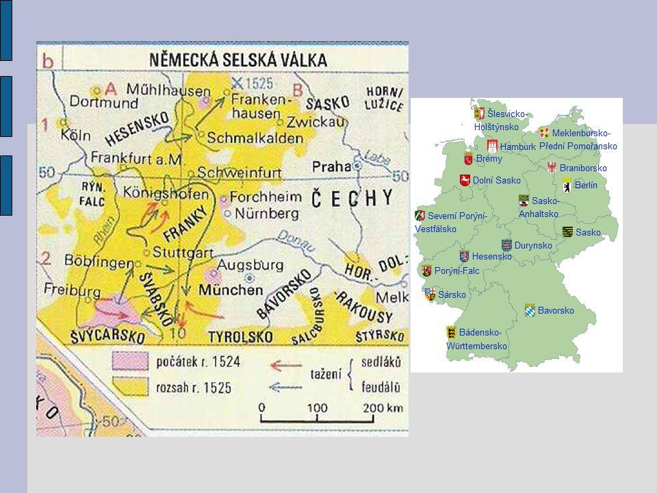 """Augšpurský náboženský mír (1555) konec náboženských válek v Německu vyrovnání katolíků a protestantů zásada: """"čí země, toho náboženství z Německa se reformace šíří do Polska, Čech, Uher, Švédska, Dánska a na Island"""