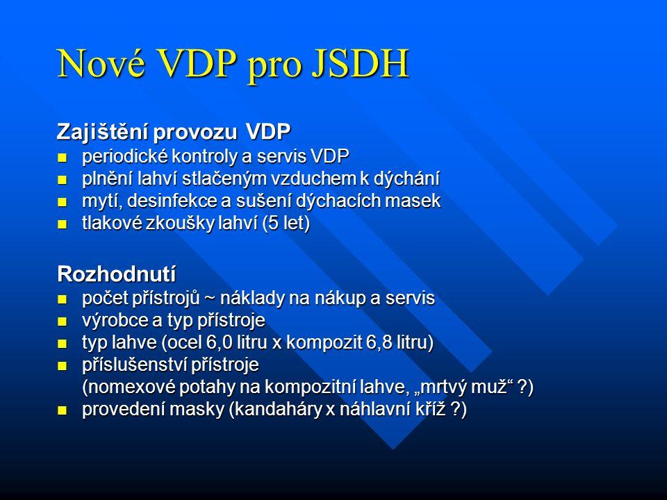 Nové VDP pro JSDH Zajištění provozu VDP periodické kontroly a servis VDP periodické kontroly a servis VDP plnění lahví stlačeným vzduchem k dýchání pl