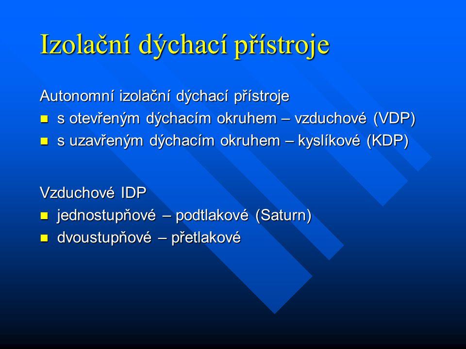 Izolační dýchací přístroje Autonomní izolační dýchací přístroje s otevřeným dýchacím okruhem – vzduchové (VDP) s otevřeným dýchacím okruhem – vzduchové (VDP) s uzavřeným dýchacím okruhem – kyslíkové (KDP) s uzavřeným dýchacím okruhem – kyslíkové (KDP) Vzduchové IDP jednostupňové – podtlakové (Saturn) jednostupňové – podtlakové (Saturn) dvoustupňové – přetlakové dvoustupňové – přetlakové