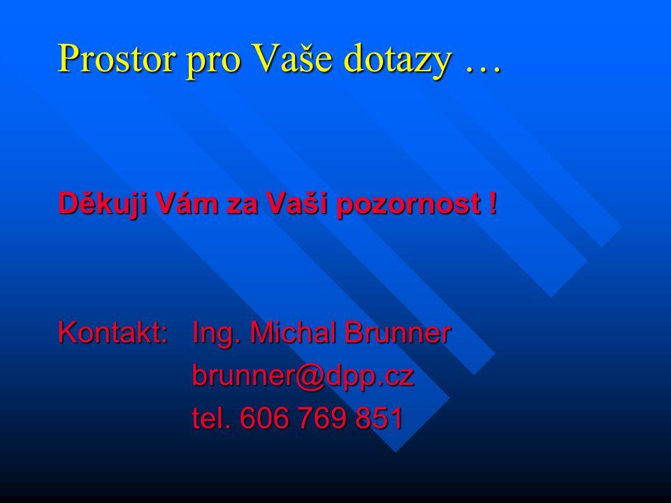 Prostor pro Vaše dotazy … Děkuji Vám za Vaši pozornost ! Kontakt:Ing. Michal Brunner brunner@dpp.cz tel. 606 769 851