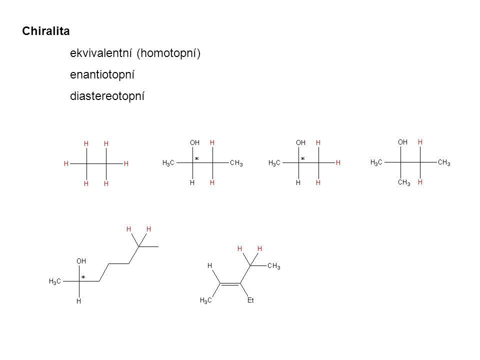 Pravidla pro spektrální analýzu 1)Systém A n X m => signál A je štěpen na m+1 linií, signál X na n+1 linií 2)Vzdálenost v Hz mezi liniemi je interakční konstanta 3)Chemický posun je ve středu multipletu 4)Relativní intenzity linií odpovídají Pascalovu trojúhelníku 5)Více skupin interagujících spinů => multiplety multipletů 6)Magneticky ekvivalentní protony se neštěpí => spinový systém A n je vždy singlet 7)Spinové systémy chemicky ekvivalentních protonů, které nejsou magneticky ekvivalentní nemohou být analyzovány jako systémy prvního řádu