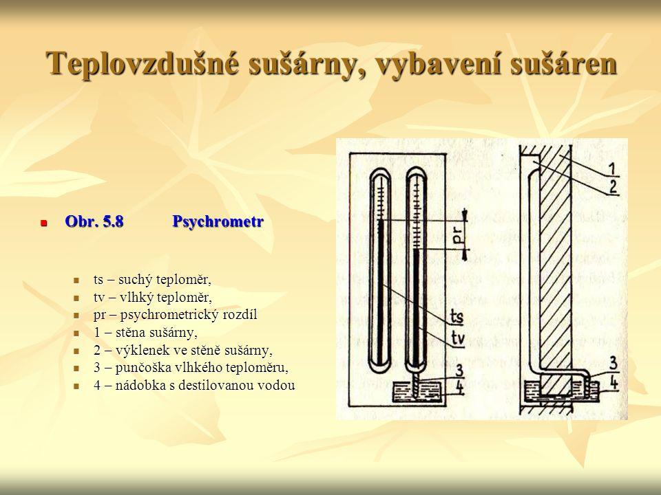 Teplovzdušné sušárny, vybavení sušáren Vlhkost vzduchu: K měření vlhkosti vzduchu se nečastěji používá psychrometr se dvěma teploměry. Může být určen