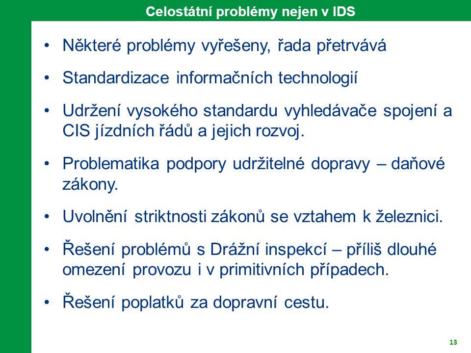 13 Celostátní problémy nejen v IDS Některé problémy vyřešeny, řada přetrvává Standardizace informačních technologií Udržení vysokého standardu vyhledá
