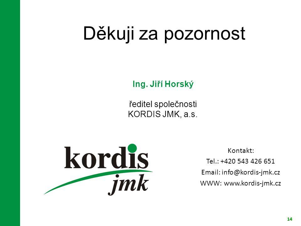 14 Děkuji za pozornost 14 Ing. Jiří Horský ředitel společnosti KORDIS JMK, a.s. Kontakt: Tel.: +420 543 426 651 Email: info@kordis-jmk.cz WWW: www.kor