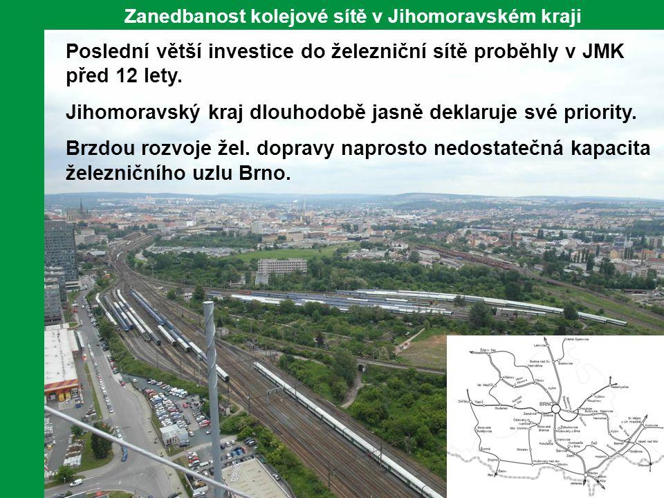9 Zanedbanost kolejové sítě v Jihomoravském kraji Poslední větší investice do železniční sítě proběhly v JMK před 12 lety. Jihomoravský kraj dlouhodob