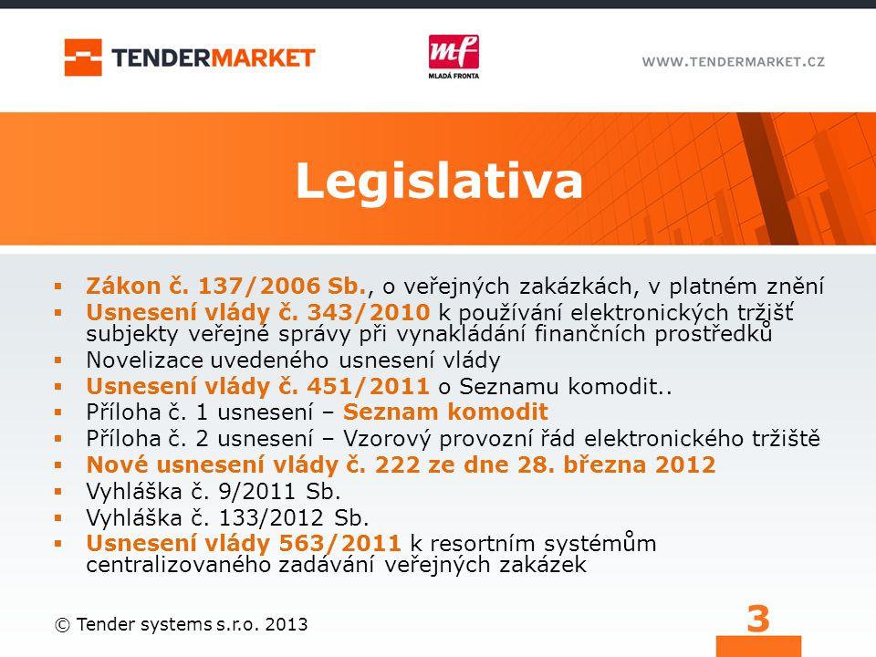 Legislativa  Zákon č. 137/2006 Sb., o veřejných zakázkách, v platném znění  Usnesení vlády č. 343/2010 k používání elektronických tržišť subjekty ve