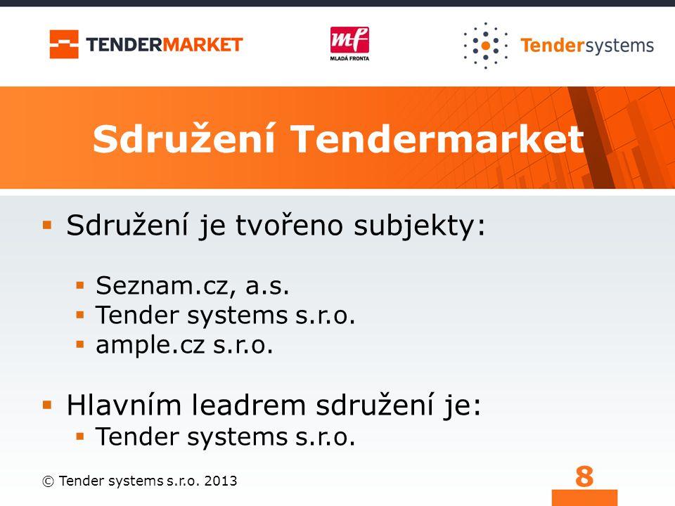 Sdružení Tendermarket  Sdružení je tvořeno subjekty:  Seznam.cz, a.s.  Tender systems s.r.o.  ample.cz s.r.o.  Hlavním leadrem sdružení je:  Ten