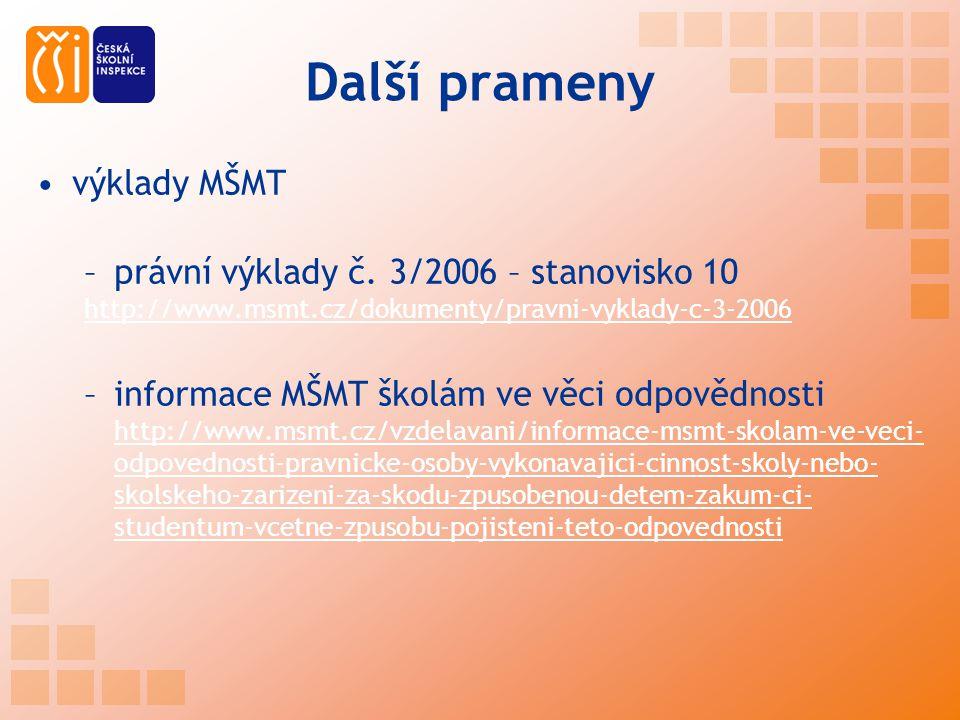 Další prameny výklady MŠMT –právní výklady č. 3/2006 – stanovisko 10 http://www.msmt.cz/dokumenty/pravni-vyklady-c-3-2006 –informace MŠMT školám ve vě