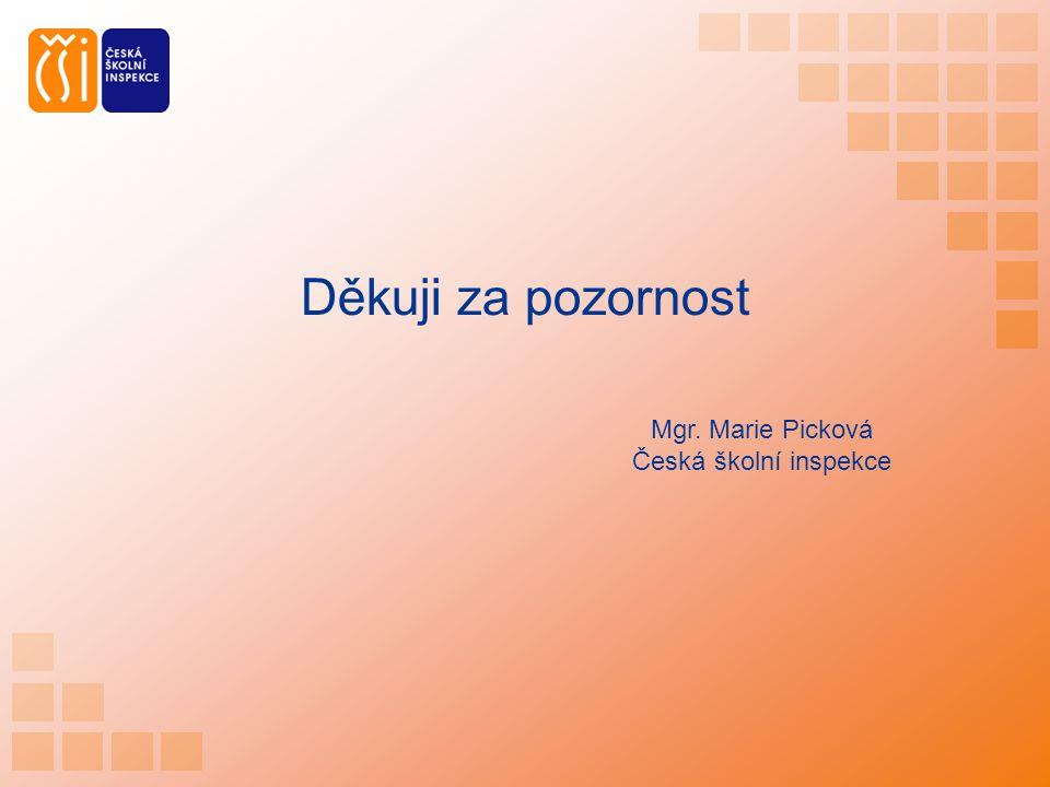 Děkuji za pozornost Mgr. Marie Picková Česká školní inspekce