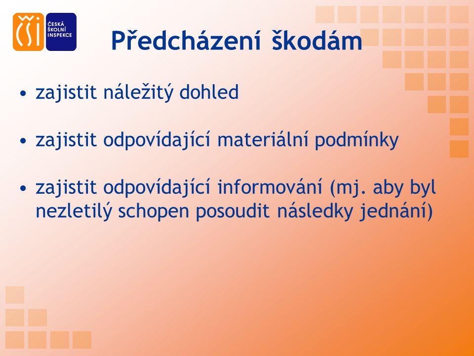 Předcházení škodám zajistit náležitý dohled zajistit odpovídající materiální podmínky zajistit odpovídající informování (mj. aby byl nezletilý schopen