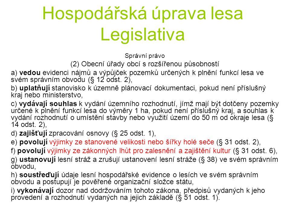 Hospodářská úprava lesa Legislativa Správní právo (2) Obecní úřady obcí s rozšířenou působností a) vedou evidenci nájmů a výpůjček pozemků určených k plnění funkcí lesa ve svém správním obvodu (§ 12 odst.