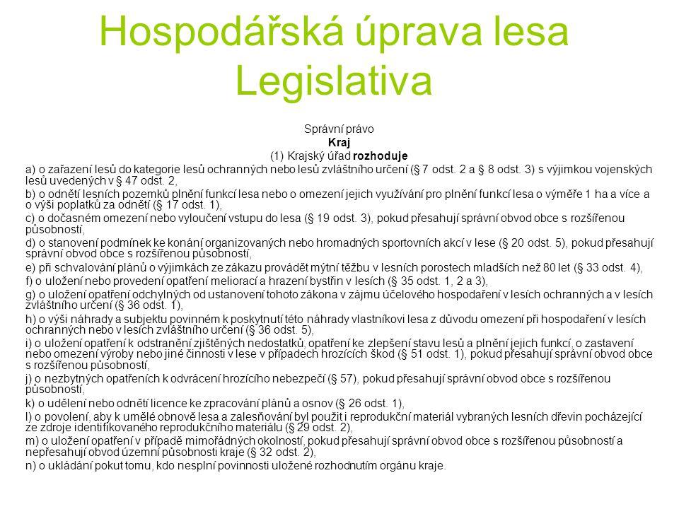 Hospodářská úprava lesa Legislativa Správní právo Kraj (1) Krajský úřad rozhoduje a) o zařazení lesů do kategorie lesů ochranných nebo lesů zvláštního určení (§ 7 odst.