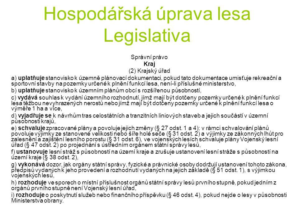 Hospodářská úprava lesa Legislativa Správní právo Kraj (2) Krajský úřad a) uplatňuje stanovisko k územně plánovací dokumentaci, pokud tato dokumentace