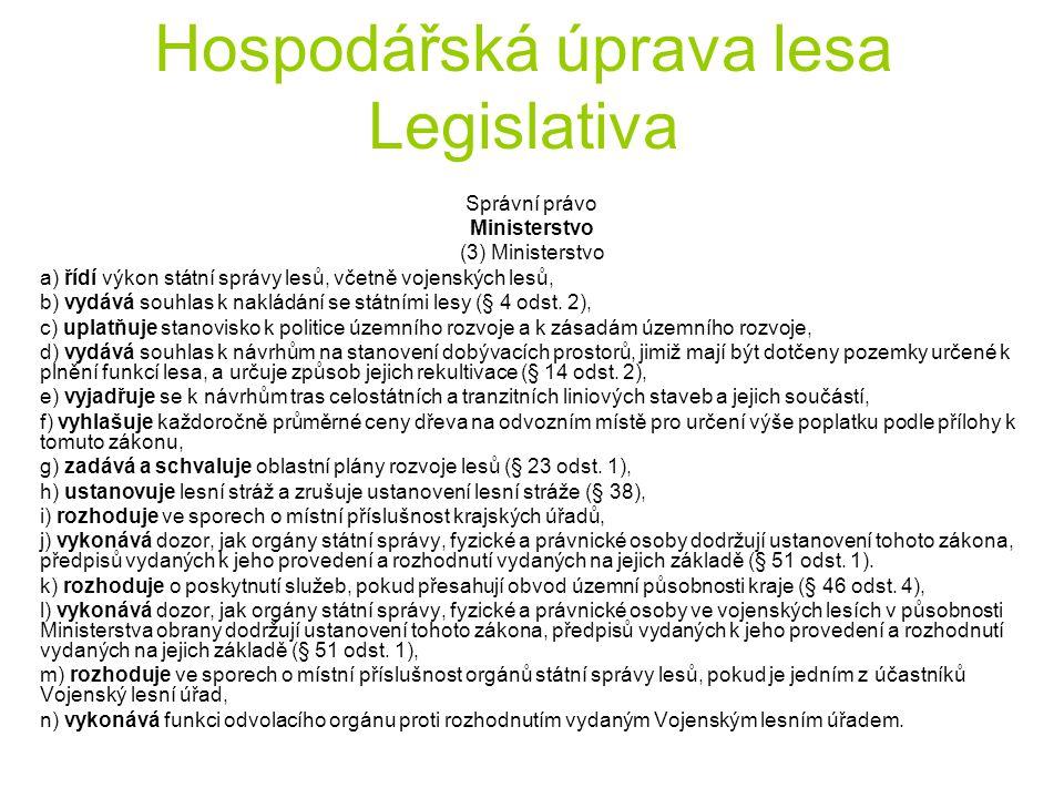 Hospodářská úprava lesa Legislativa Správní právo Ministerstvo (3) Ministerstvo a) řídí výkon státní správy lesů, včetně vojenských lesů, b) vydává so