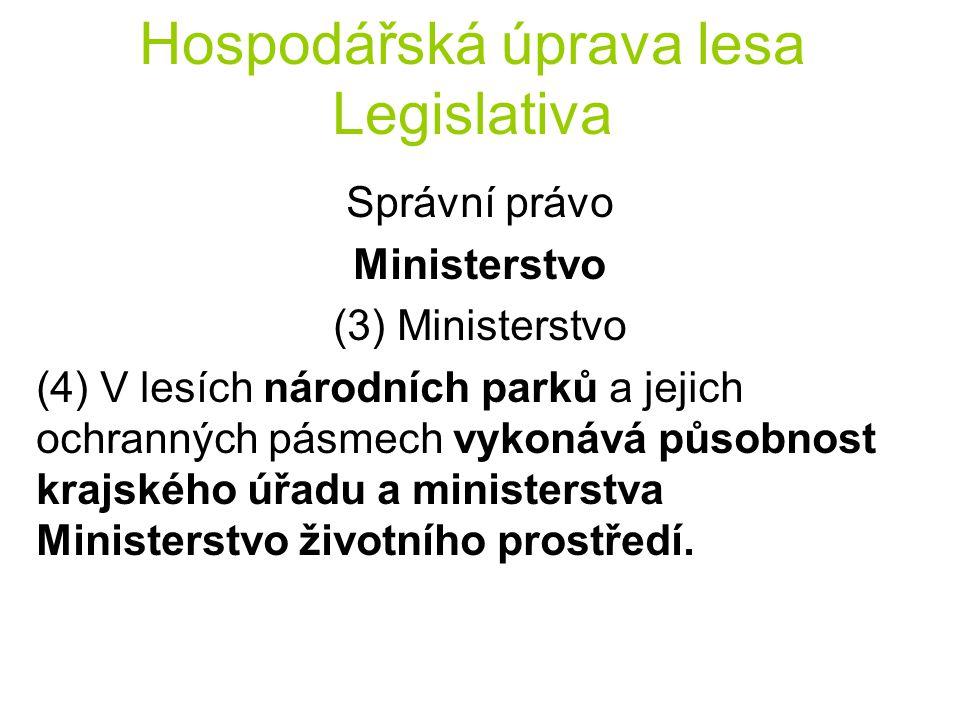 Hospodářská úprava lesa Legislativa Správní právo Ministerstvo (3) Ministerstvo (4) V lesích národních parků a jejich ochranných pásmech vykonává půso