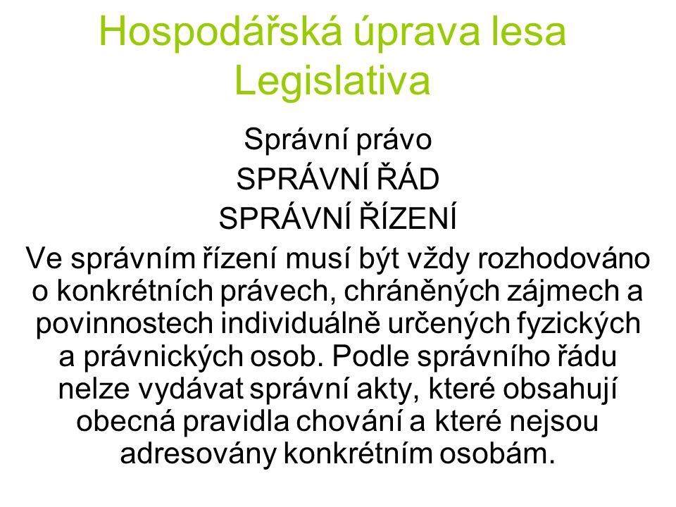 Hospodářská úprava lesa Legislativa Správní právo SPRÁVNÍ ŘÁD SPRÁVNÍ ŘÍZENÍ Ve správním řízení musí být vždy rozhodováno o konkrétních právech, chrán