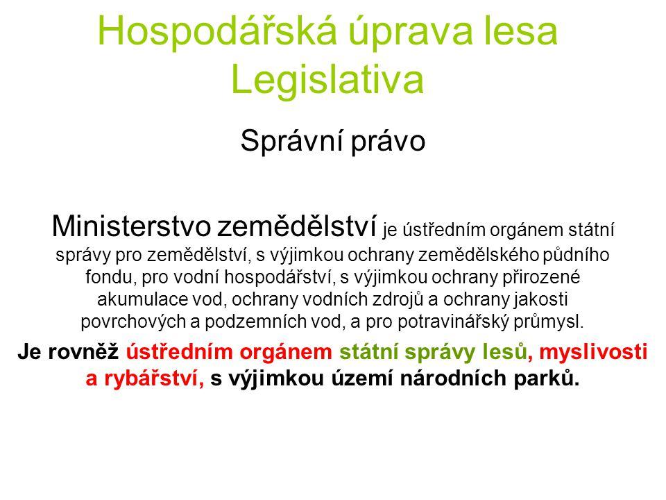 Hospodářská úprava lesa Legislativa Správní právo Ministerstvo zemědělství je ústředním orgánem státní správy pro zemědělství, s výjimkou ochrany země