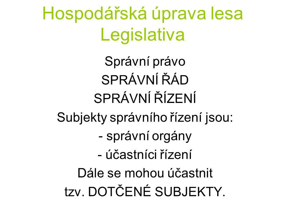 Hospodářská úprava lesa Legislativa Správní právo SPRÁVNÍ ŘÁD SPRÁVNÍ ŘÍZENÍ Subjekty správního řízení jsou: - správní orgány - účastníci řízení Dále