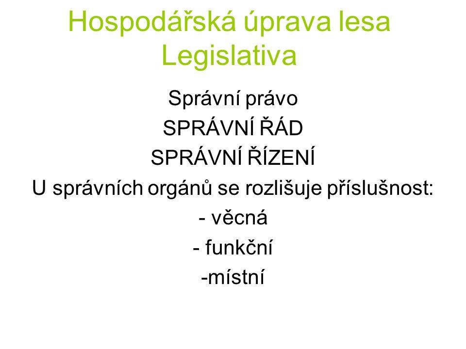 Hospodářská úprava lesa Legislativa Správní právo SPRÁVNÍ ŘÁD SPRÁVNÍ ŘÍZENÍ U správních orgánů se rozlišuje příslušnost: - věcná - funkční -místní