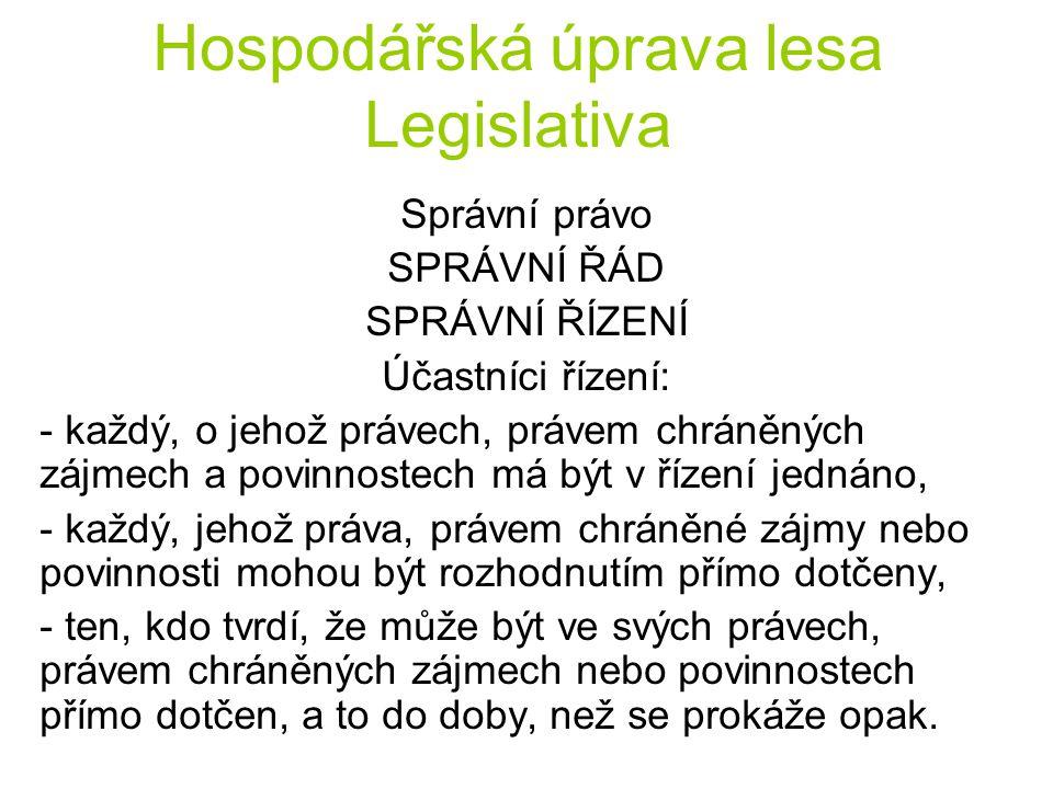 Hospodářská úprava lesa Legislativa Správní právo SPRÁVNÍ ŘÁD SPRÁVNÍ ŘÍZENÍ Účastníci řízení: - každý, o jehož právech, právem chráněných zájmech a p