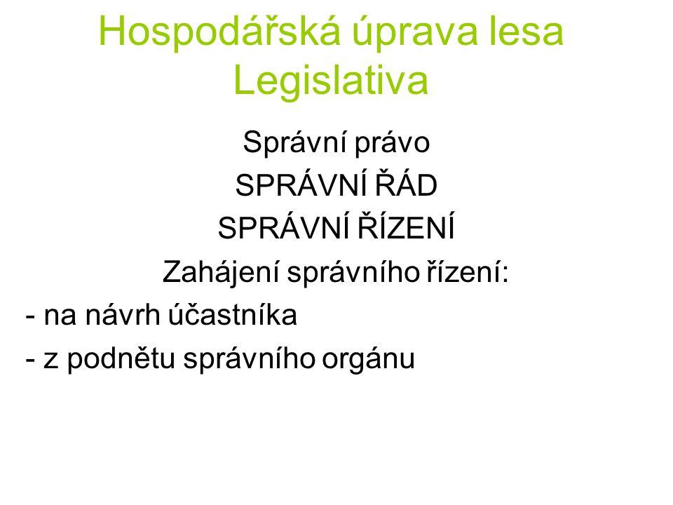 Hospodářská úprava lesa Legislativa Správní právo SPRÁVNÍ ŘÁD SPRÁVNÍ ŘÍZENÍ Zahájení správního řízení: - na návrh účastníka - z podnětu správního org