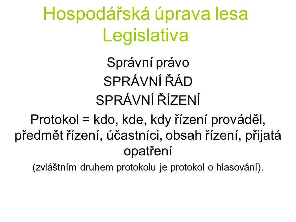 Hospodářská úprava lesa Legislativa Správní právo SPRÁVNÍ ŘÁD SPRÁVNÍ ŘÍZENÍ Protokol = kdo, kde, kdy řízení prováděl, předmět řízení, účastníci, obsa
