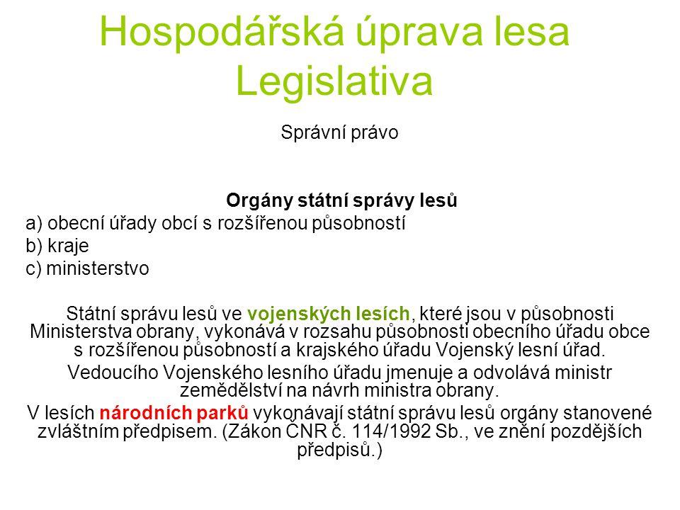 Hospodářská úprava lesa Legislativa Správní právo Obecní úřady obcí s rozšířenou působností (1) Obecní úřady obcí s rozšířenou působností rozhodují k) o podmínkách lesní dopravy po cizích pozemcích (§ 34 odst.